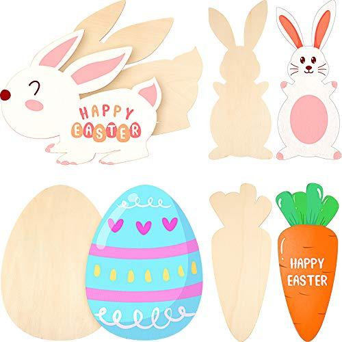 8 Recortes de Huevos Pascua de Madera 12 Pulgadas Recortes de Conejo Grandes Adornos de Pascua Recortes de Madera sin Terminar con Tema Pascua para Pintar Manualidades DIY, 4 Estilos