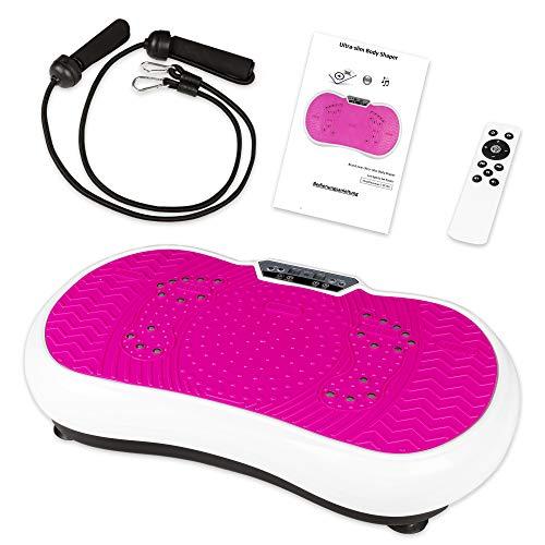 Coradoma Vibrationsplatte mit Power Dehnbändern und Bluetooth Vibrationsboard Fitness und Sport zum Abnehmen für Zuhause Ultra Slim Rüttelplatte Training Vibrationsgerät Oszillation