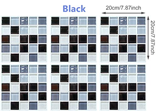 XLZX-FX Tile Stickers Decor-Great for Room,Livingroom,Walls,Kitchen,Bedroom and More, Wall Stickers Decals (Black)