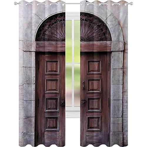 Cortinas opacas para niños, puerta veneciana de madera arqueada con elementos otomanos reales, cultura europea, ancho 52 x largo 108 cortina de ventana para dormitorio, color marrón crema