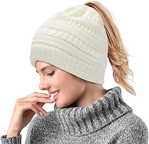 Malaxlx Supstar Damen Mädchen Gestrickt verdicken Hut Mit Zöpfen Loch Loop Strickschal Strickmütze Wintermütze (Weiß)