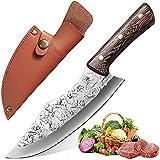Qijieda Cuchillo de cocina, cuchillo de chef, cuchillo profesional para deshuesar con funda de piel, mango ergonómico, hoja extra afilada, para deshuesar, cortar carne y verduras