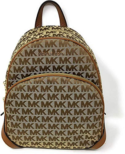 MICHAEL KORS SIGNATURE MEDIUM JACQUARD ABBEY BACKPACK BEIGE EBONY