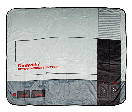 Bioworld NES Classic Nintendo Entertainment System Plush Throw Blanket 48' x 60' (122cm x 152cm)