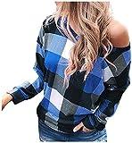 Womens Skew Neck Long Sleeve T Shirts Casual Plaid Printed Shirt Sweatshirt Rainbow Design Top Blouse Sweater