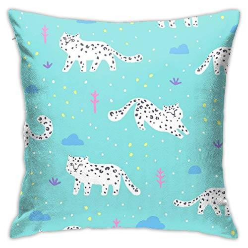 Hangdachang Throw Pillow Case 45cm x 45cm Snow Leopard Pillowcase,Square Throw Covers,Decorative Cushion for Sofa Couch Car