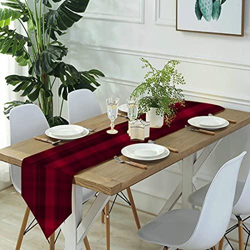 Reebos Camino de mesa de lino para aparador, sutiles caminos de mesa de cocina a cuadros rojos y negros para cenas de granja, fiestas de vacaciones, bodas, eventos, decoración, 33 x 70 pulgadas