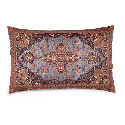 SKGQZD Funda de Almohada Rectangular Traditional Persian Isfahan Vintage Carpet Style Funda de Almohada para la Salud del Cabello y la Piel, con Cremallera Oculta Poliéster 50x35cm