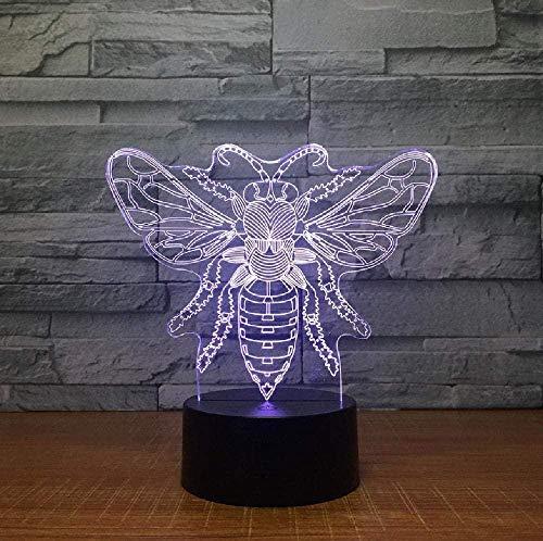 Luz 3D de la noche de la mariposa 3D, lámpara colorida de la noche, fuente de alimentación USB, control táctil, lámpara de escritorio para niños, regalo de cumpleaños para niños con interruptor remoto