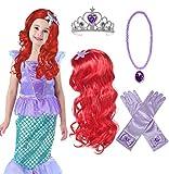 Princess Mermaid Wig Ariel Braid with Princess Tiara Necklace Gloves Not...