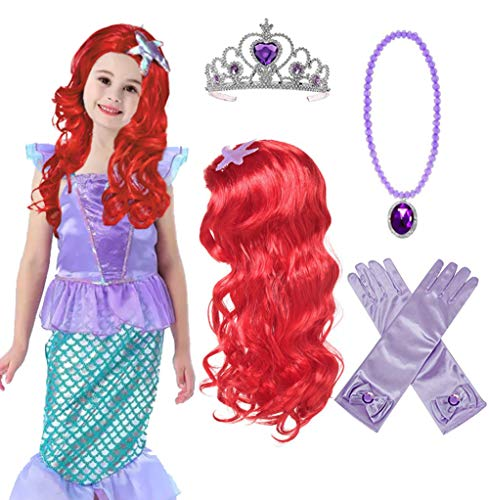 Princess Mermaid Wig Ariel Braid with Princess Tiara Necklace Gloves Not Including Dress Princess Mermaid Ariel Dress Up Halloween Costume Cosplay Accessories for Kids Girls