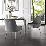 InspiredHome Grey Velvet Dining Chair - Design: Christine | Armless | Set of 2 | Knob Handle | Stainless Steel Legs