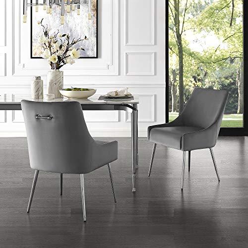 InspiredHome Grey Velvet Dining Chair - Design: Christine | Armless | Set of 2 | Knob Handle | Stainless Steel Legs
