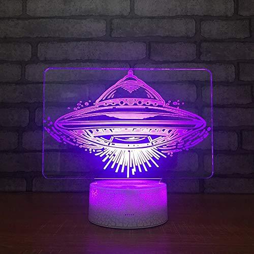 Nave espacial alienígena novedosa y base de grietas de luz visual 3D acrílica creativa adecuada para los regalos de los jóvenes, luz nocturna LED, utilizada para la decoración de habitaciones