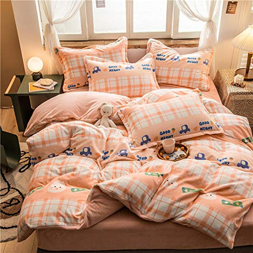 cotton duvet cover double-Autumn and winter thickening anti-static double-sided warmth reversible flannel Christmas bed sheet bedspread duvet European cover pillowcase bedding-N_2.0m bed (4 pieces)