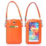 YLH Universal Leder Handy Tasche Tasche mit Fullscreen Touch for iPhone 6 & 5 / Samsung S7 / S6 / S5 / G900 / i9500 / i9300 / i9250 / i8750. (Color : Orange)