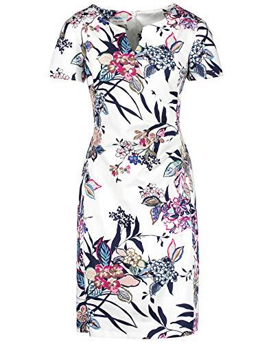 Gerry Weber Damen 1/2 Arm Kleid Mit Floralprint Figurumspielend, Tailliert Ecru Limonade Aqua Druck 42