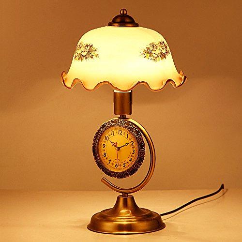 Pointhx Retro Elegante E27 1-light Eisen Schreibtischlampe mit Uhr, Kunstglas Lampenschirm Tischlampe Nostalgisches Restaurant Cafe Club Gallery Desktop-Nachtlicht (Dimmschalter)
