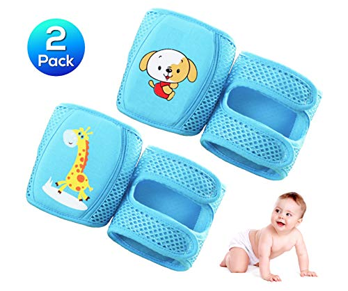 KITTENSOLA Baby Knee Pads for Crawling (2 or 3 or 4 Pairs) Comfortable 3D Mesh Design Elbow Leg Pads Anti-Slip Adjustable for Infant Toddlers Girls and Boys (Unisex) (Blue)