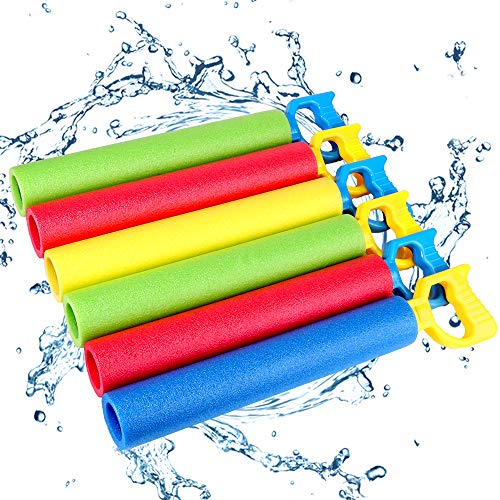 Foam Water Shooter for Kids, 6 Pack Water Guns Toys Water Blaster for Boys Girls Adults Swimming Pool Beach Summer Outdoor, Water Squirt Guns Set Up to 31ft