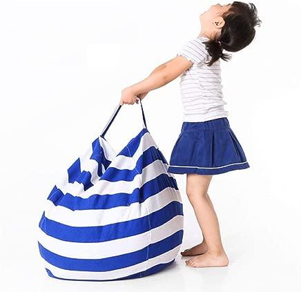 OOFAYWFD Canvas Stuffed Animal Storage Bean Bag Chair Kids Plush Toy Clothes Quilts Organizer 1 Big