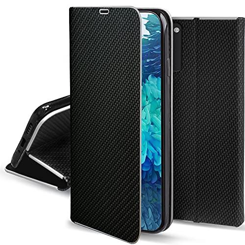 Moozy Funda con Tapa para Samsung S20 FE, Samsung S20 FE 5G, Carbono Negro – Flip Cover con Bordes Metalizados de Protección, Soporte y Tarjetero