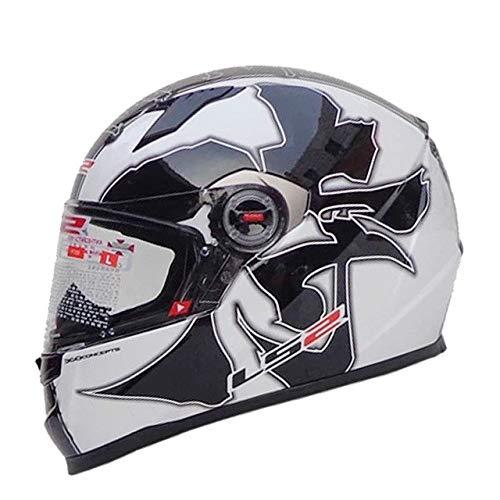IAMZHL Vollgesicht Motorradhelm Frau Mann Capacete Mit abnehmbaren Innenpolstern Casco Moto Capacete de Motocicleta-32 White Musha-1-M