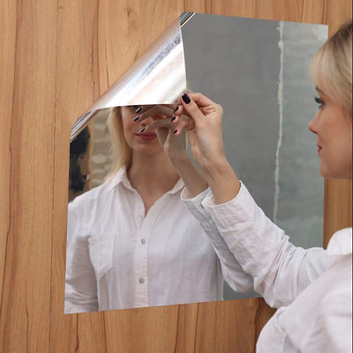 Flexible Mirror Sheets Non Glass,Soft Mirror Mirror Sticker,Mirror Mirror Self Adhesive,Full Body Mirror Practice Haha Wall Stickers for Home Decoration, 19.68 x 39.37 Inches (Silver)