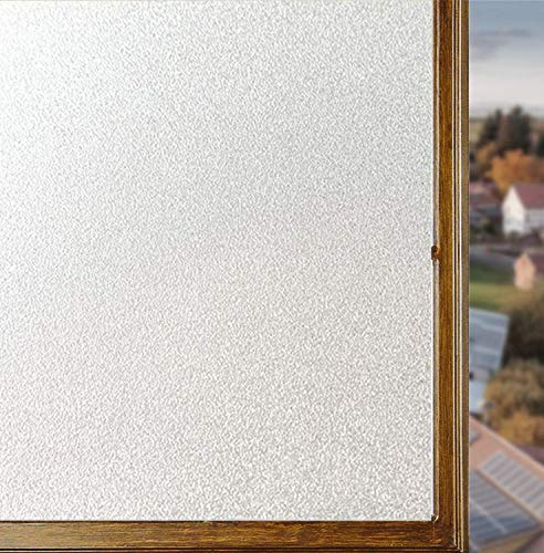 Soqool Privacy Window Film Frosted Window Vinyl Self Stick Window Film, Bathroom Privacy Film Sidelight Window Film Privacy Glass Film for Office/Home(White,17.7In. by 78.7In.)