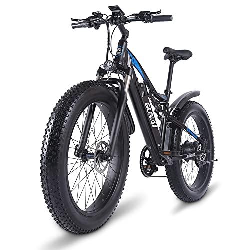Bicicleta eléctrica GUNAI 26 '' 4.0 Fat Tire Mountain E-Bike 1000W 48V con batería extraíble de Iones de Litio de 17AH y Doble absorción de Impactos