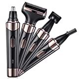 Recortador de Nariz 4 en 1 Recortador de Pelos de Nariz Afeitadora Eléctrica para Hombres Recargable Cortadoras de Vello Facial Recortador de Cejas Afeitadora para Hombres