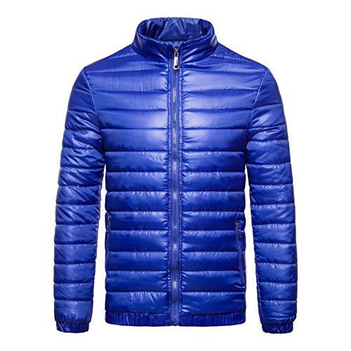 Otoño Invierno Abajo Chaqueta Hombres Soporte Casual Collar Ultra Light Parka Coat Casual Outwear Chaquetas Térmicas Ropa para Hombre #c (Color : Blue, Size : XL)