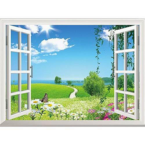 5D diamantschilderij, complete set, kruissteek, set voor volwassenen, kinderen, doe-het-zelf, diamant, kunsthars, strass, borduurwerk, diamantschilderij, decoratie voor huis, woonkamer, slaapkamer, landschap door het raam 40x50cm Vierkante boor