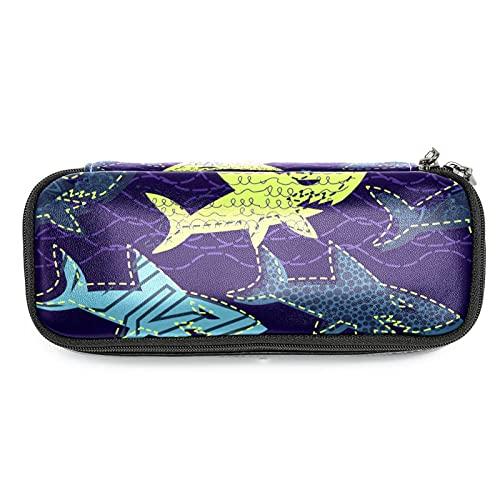 Estuche de Lápices infantil Tiburon oceano Estuche escolar Cuero impermeable Bolsa de lápiz Organizador de papelería para niña 19x7.5x3.8cm