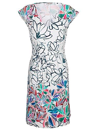Alba Moda Strandkleid mit Bindegürtel Weiss-Bunt