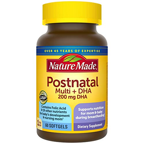 Postnatal Multivitamin + DHA 200 mg Softgels, to Support Nursing Moms & Babies During Breastfeeding, Postnatal Vitamins & Nutrients Include Iron, Vitamin D3, Calcium, Iodine, 60 Count