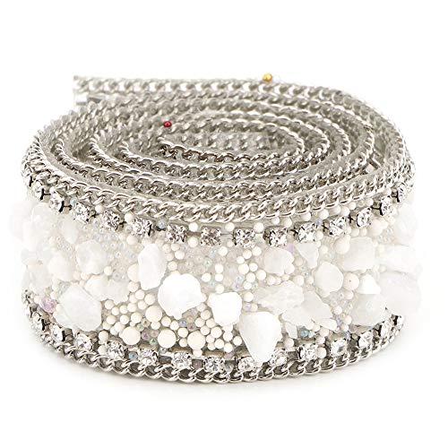 BigBig Style 2,5 cm DIY Diamond Mesh Wrap Roll Kristal Strass Steentjes Ketting Trim Lint voor Jurk Accessoires Decoratie, Bruiloft Jurk, Ketting, Armband White stone silver bead chain