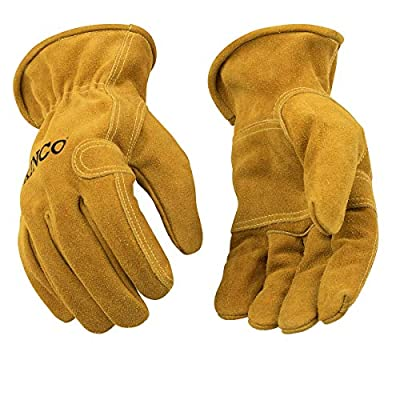 Kinco - Unlined Suede Cowhide Leather Work Gloves, Heavy Duty Reinforced Palm, Extremely Durable, Easy-On Cuff, Fitted Elastic Wrist, (Style No. 97)
