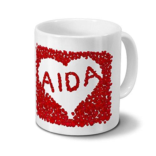 Tasse mit Namen Aida - Motiv Rosenherz - Namenstasse, Kaffeebecher, Mug, Becher, Kaffeetasse - Farbe Weiß