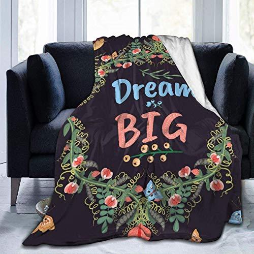 AEMAPE Manta de Forro Polar de Franela Ultra Suave con Estilo, Dormitorio, Sala de Estar, sofá, Cama, cálida Manta de Microfibra para niños, Retro Doodle Floral Big Dream, 50 x 40 Pulgadas