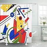 LINMING Cortina de ducha con patrón azul abstracto, pintura moderna en colores Bauhaus impermeable tela de poliéster cortina de ducha 180 x 180 cm.