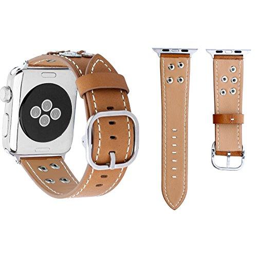 Elektronische smartwatch + armband voor Apple Watch Series 3 & 2 & 1, 42 mm, modieuze stijl, echte bloemen, westers, leren armband (zwart), Khaki (stad)