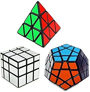 Wonderful E-life Set of 3 Speed Cube Pyraminx, Megaminx, Silver Mirror Magic Puzzle