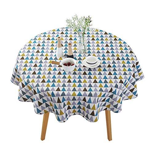 XinKu - Manteles de estilo nórdico simple para mesa circular, a prueba de polvo, de algodón y lino, para mesa de buffet, fiestas, cenas de vacaciones