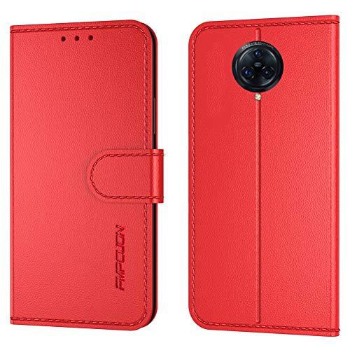 FMPCUON Handyhülle Kompatibel mit Vivo Nex 3/Nex 3 5G/Nex 3S 5G(Neueste),Premium Leder Flip Schutzhülle Tasche Hülle Brieftasche Etui Hülle für Vivo Nex 3/Nex 3 5G/Nex 3S 5G,Rot