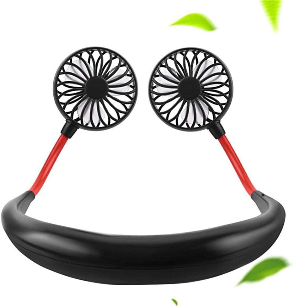 Hand Free Personal Fan, Portable USB Battery Rechargeable Mini Neckband Lazy Fan, 3 Speeds Adjustable Wearable Fan for Traveling Outdoor Office Room (Black)