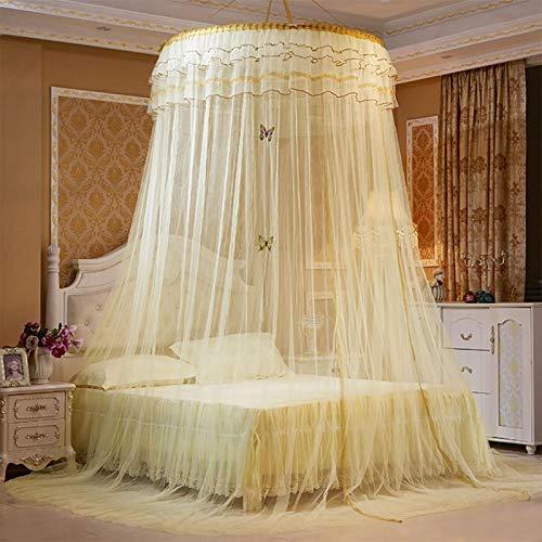 AYNEFY Cortina mosquitera para cama de matrimonio, romántica, dosel de cama, dosel de mosquitera, cortina de red, para niñas y adultos, decoración de dormitorio de princesa (dorada)