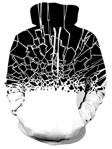 Rave on Friday Geometric Hoodie Unisex 3D Stampa Graphics Felpa con Cappuccio novità Geometric Pullover Sweatshirt all-Over Manica Lunga S-M