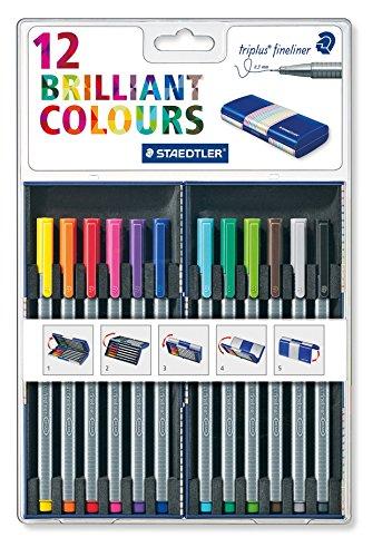 Staedtler Back-to-School 12 Brilliant Multi Colors Triplus 0.3mm Fineliner Pens with Case