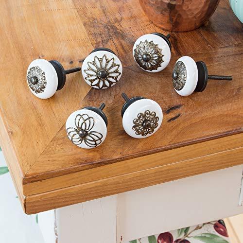 Knober, pomelli per mobili, in ceramica bianca e porcellana, 40 mm, stile rustico, shabby chic, per porte, (05° antico, set da 6 pezzi)